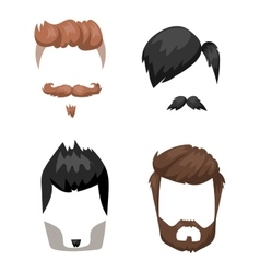 Hairstyle beard and hair face cut mask flat vector image