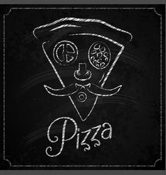 pizza label chalkboard concept design vector image