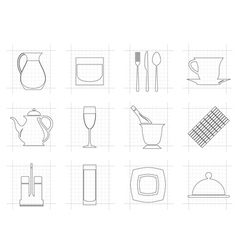 restaurant cafe bar and night club icons vector image vector image