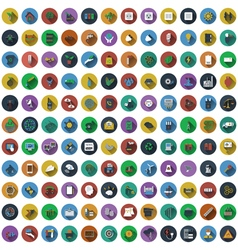 Big set of circle flat design icons Big set of vector image vector image