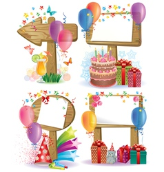 Birthday wooden sign vector image vector image