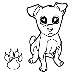 dog with paw print Coloring Pages vector image vector image