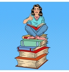 Pop Art Woman Sitting on Books and Reading Book vector image vector image