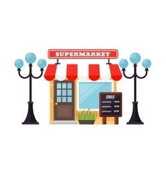 Supermarket shop facade vector image vector image