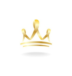 Golden ribbon crown sign vector image vector image