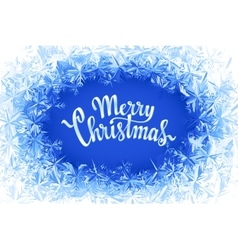 Merry Christmas Lettering in ice frame vector image