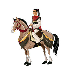 Samurai warrior with sword riding horse designed vector
