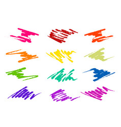 Brush strokes in different shapes and colors vector