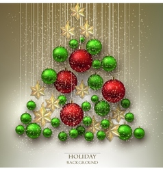 Christmas background with balls Xmas tree made vector image