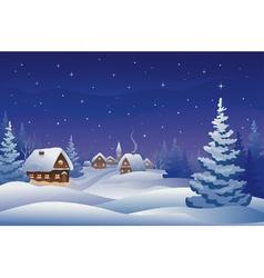 Christmas night village vector image vector image