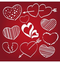 Doodle hearts set vector image vector image
