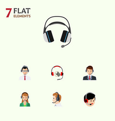 flat hotline set of operator secretary help and vector image