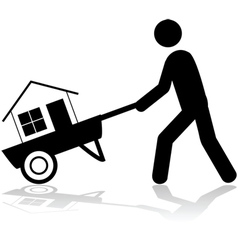 House on a wheelbarrow vector image vector image