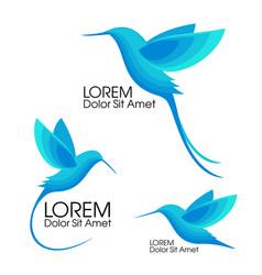 modern set blue birds colibri in flight trendy vector image vector image
