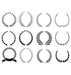 set of black Laurel Wreaths vector image