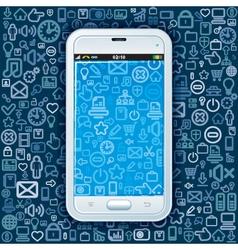 Smartphone on Web Pattern vector image