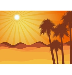 Sunset in the desert with palm tree vector image