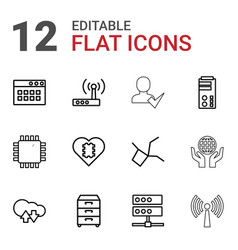 12 network icons vector