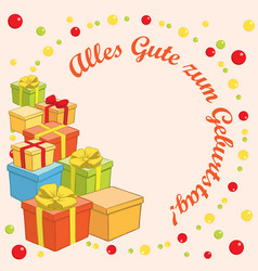 alles gute zum geburtstag - background with gifts vector image