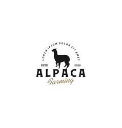 Alpaca silhouette logo design - animal ranch vector