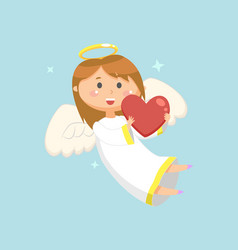 Angel with heart winged girl with smile on face vector