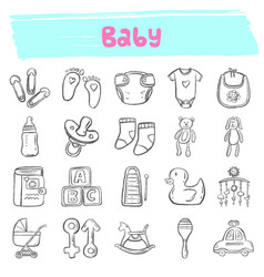 Bahand drawn doodle icon set vector