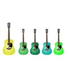 Beautiful Green Colors of Acoustic Guitars vector image