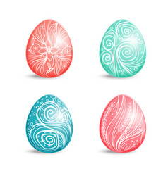 beautiful set of colored easter eggs with ornament vector image