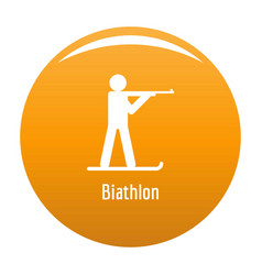 Biathlon icon orange vector