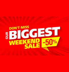 Big sale banner this weekend special offer vector