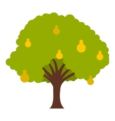 Big tree with fruit icon flat style vector