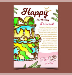 birthday cake decorated with bow banner vector image