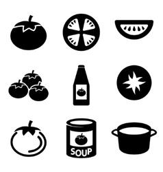 black tomato icons set vector image vector image