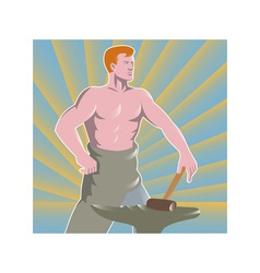 Blacksmith with hammer and anvil retro style vector