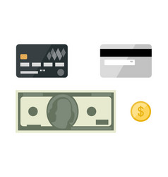 cards with dollars flat icons vector image
