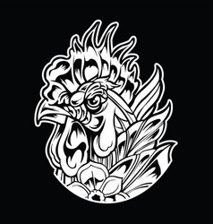 chicken rooster vintage tattoo vector image