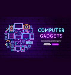 Computer gadgets neon banner design vector