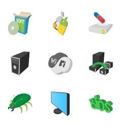 Computer setup icons set cartoon style vector