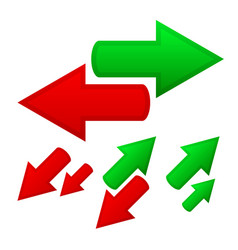 conceptual arrows opposite directions growth vector image