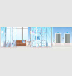 Creative workplace office room furniture corridor vector