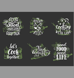 cuisine quotes hand lettering typography vector image