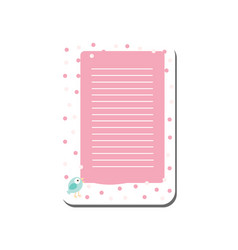 cute card with place for notes trendy pink lined vector image