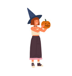 cute happy girl wearing witch hat hold halloween vector image