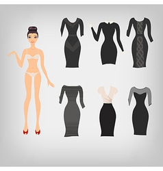 Cute simple dress up paper doll with an assortment vector