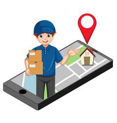 Deliver or courier man in blue uniform cartoon vector