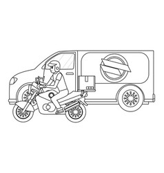 delivery motorcycle and van vector image