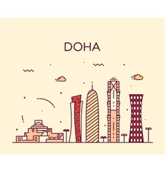 Doha skyline silhouette linear style vector image vector image