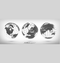 earth globe set with continents vector image