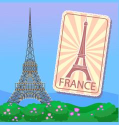 eiffel tower in paris emblem or magnet france vector image