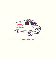 Extended sans serif font and ice cream truck vector